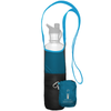 ChicoBag Bottle Sling Aquamarine Blue rePETe hands-free Cross Body reusable bottle holder That Stuffs Into its built-in pouch and made from recycled plastic bottles On a White Background