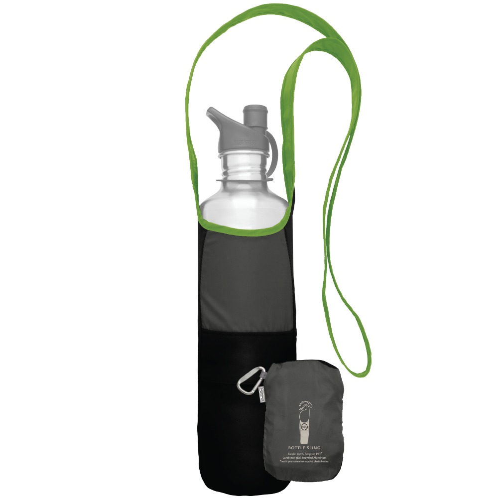 ChicoBag Bottle Sling Limestone Green and Grey rePETe hands-free Cross Body reusable bottle holder That Stuffs Into its built-in pouch and made from recycled plastic bottles On a White Background