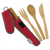 To-Go Ware Classic Cayenne Red color reusable bamboo utensil set with fork knife spoon and chopsticks