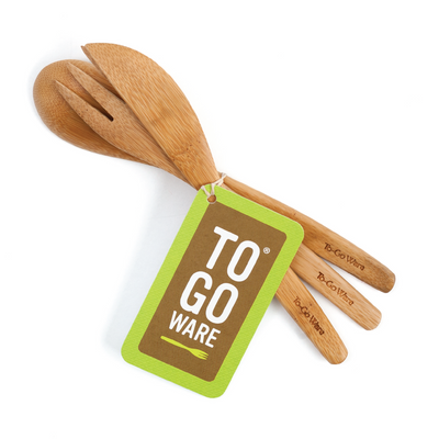 To-Go Ware Reusable Bamboo Fork knife spoon set and banded together