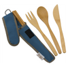 To-Go Ware Classic Indigo Blue color reusable bamboo utensil set with fork knife spoon and chopsticks