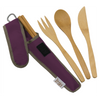 To-Go Ware Classic Mulberry Purple color reusable bamboo utensil set with fork knife spoon and chopsticks