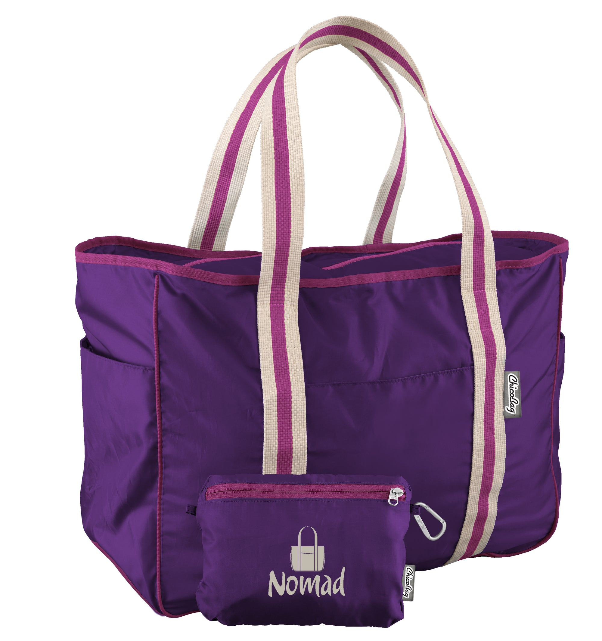 ChicoBag Purple Nomad Tote Large Capacity Shoulder Tote That Stuffs Into its built-in pouch On a White Background