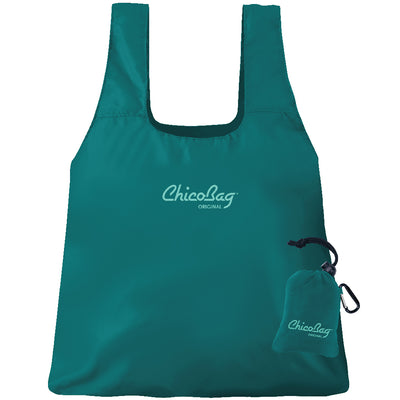 Machine Washable Aqua Blue Reusable Original ChicoBag that stuffs into its built in pouch on A White Background