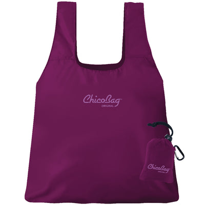 Machine Washable Boysenberry Purple Original ChicoBag that stuffs into its built in pouch on A White Background