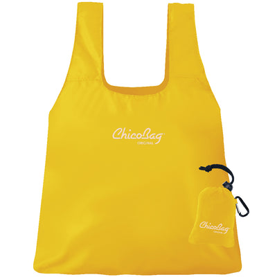 Machine Washable Buttercup Yellow Reusable Original ChicoBag that stuffs into its built in pouch on A White Background