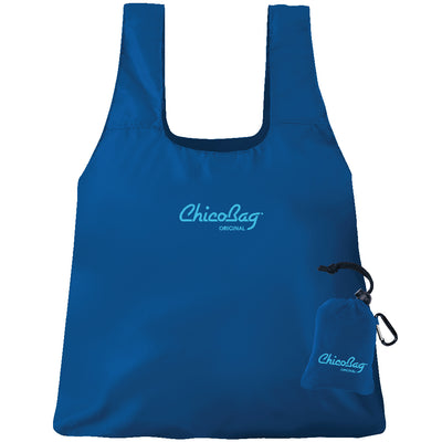 Machine Washable Blue Reusable Original ChicoBag that stuffs into its built in pouch on A White Background