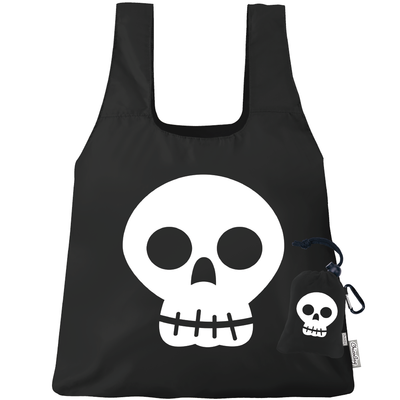 Machine Washable Black Skull Reusable Original ChicoBag that stuffs into its built in pouch on A White Background