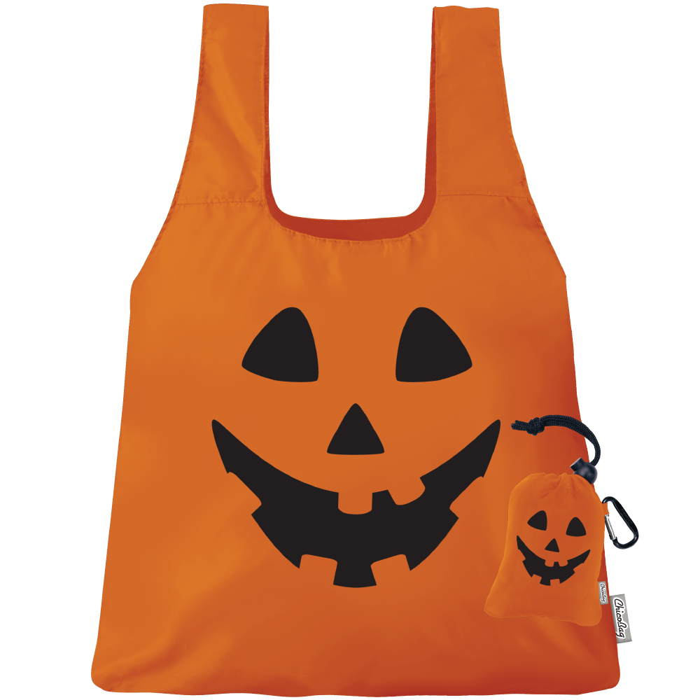 Machine Washable Halloween Jack O lantern Reusable Original ChicoBag that stuffs into its built in pouch on A White Background