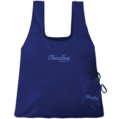 Machine Washable Mazarine Blue Reusable Original ChicoBag that stuffs into its built in pouch on A White Background