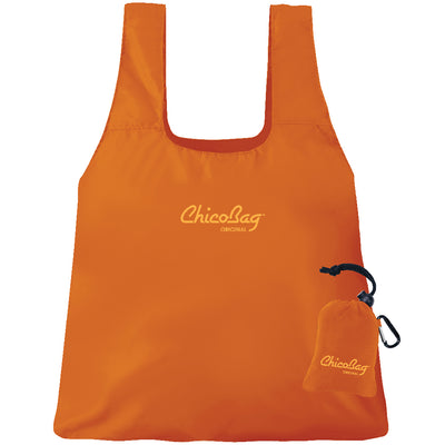 Machine Washable Orange Reusable Original ChicoBag that stuffs into its built in pouch on A White Background