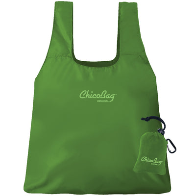 Machine Washable Pale Green Reusable Original ChicoBag that stuffs into its built in pouch on A White Background