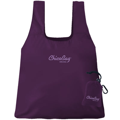 Machine Washable Purple Reusable Original ChicoBag that stuffs into its built in pouch on A White Background