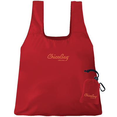 Machine Washable Red Reusable Original ChicoBag that stuffs into its built in pouch on A White Background