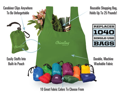 Features of The Reusable Original ChicoBag and available colors