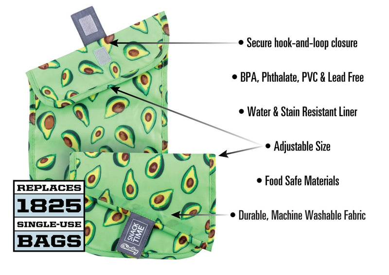 ChicoBag Avocado Print Green Snack Time reusable Sandwich Bag Set of Three Folded