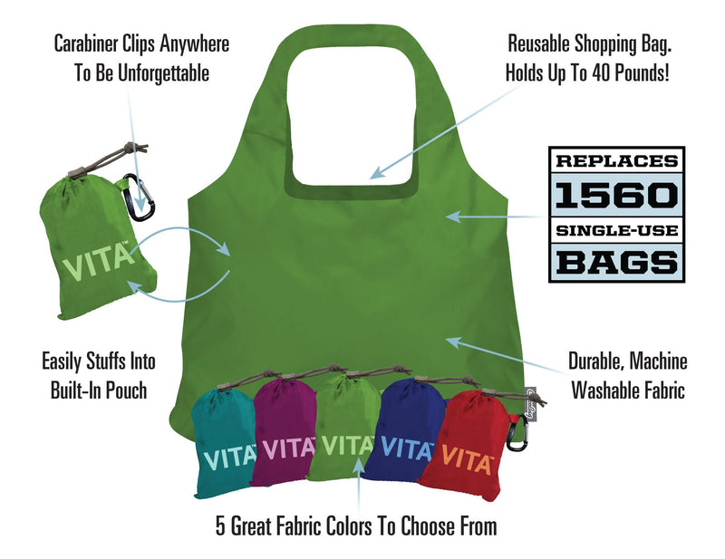 Aqua ChicoBag Vita Polyester Reusable Shoulder Tote On a White Background