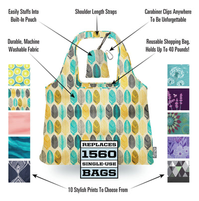Features and Selling Points of a ChicoBag Vita Printed Shoulder Tote That Stuffs Into Its Built In pouch. Available In 10 Prints