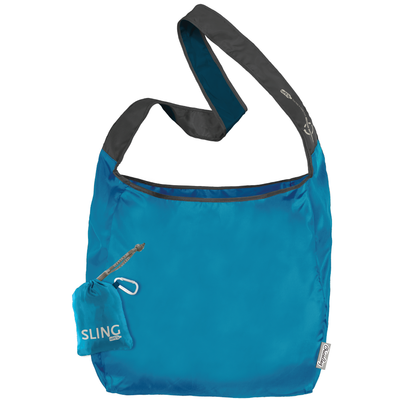 ChicoBag Sling Ocean Blue rePETe hands-free Cross Body Tote That Stuffs Into its built-in pouch and made from recycled plastic bottles On a White Background