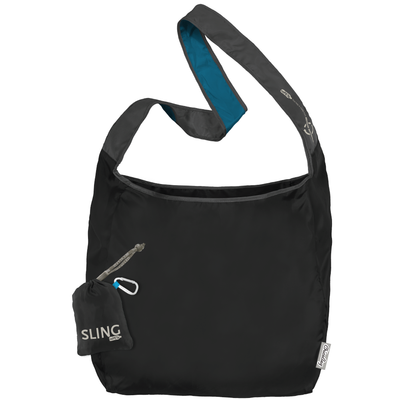 ChicoBag Sling Storm Black rePETe hands-free Cross Body Tote That Stuffs Into its built-in pouch and made from recycled plastic bottles On a White Background