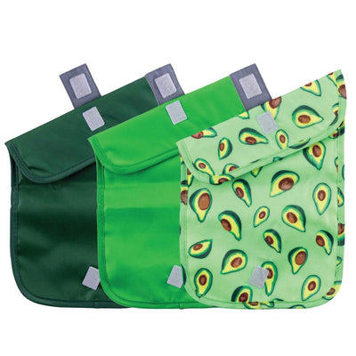 ChicoBag Avocado print Green Snack Time reusable Sandwich Bag Set of Three Open