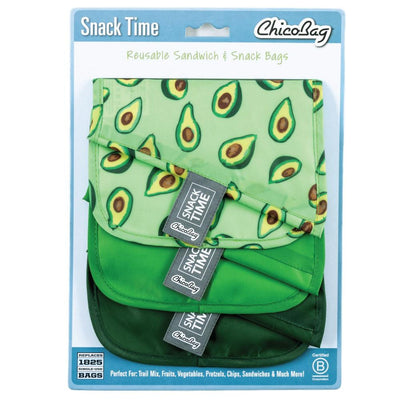 ChicoBag Avocado Print Green Snack Time reusable Sandwich Bag Set of Three With Packaging