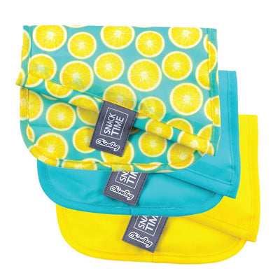 ChicoBag Lemon Pattern Print Snack Time reusable Sandwich Bag Set of Three Folded