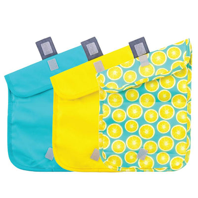 ChicoBag Lemon Pattern Print Snack Time reusable Sandwich Bag Set of Three Open
