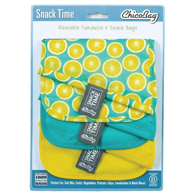 ChicoBag Lemon Pattern Print Snack Time reusable Sandwich Bag Set of Three With Packaging
