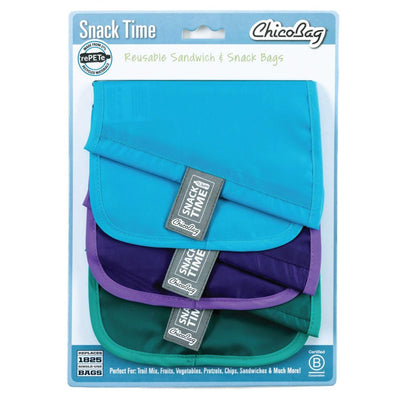 ChicoBag rePETe Snack Time reusable Sandwich Bag made from recycled plastic bottles Set of Three With Packaging