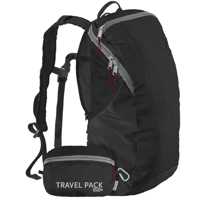ChicoBag Jet Black Travel pack rePETe lightweight backpack That Stuffs Into its built-in pouch and made from recycled plastic bottles On a White Background