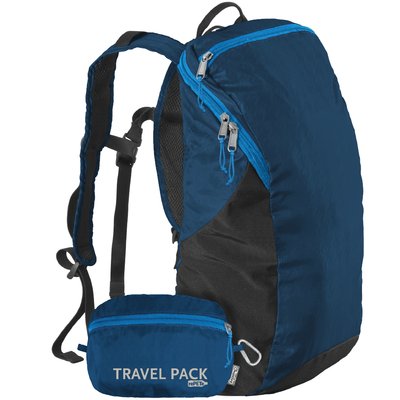 ChicoBag Poseidon Blue Travel pack rePETe lightweight backpack That Stuffs Into its built-in pouch and made from recycled plastic bottles On a White Background