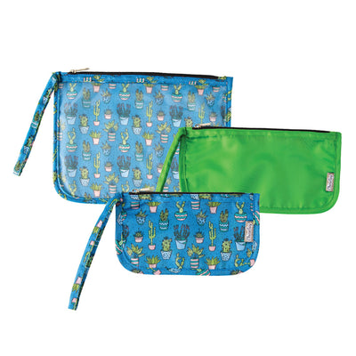 ChicoBag Cactus Print set of three reusable Travel Zip Set on a white background