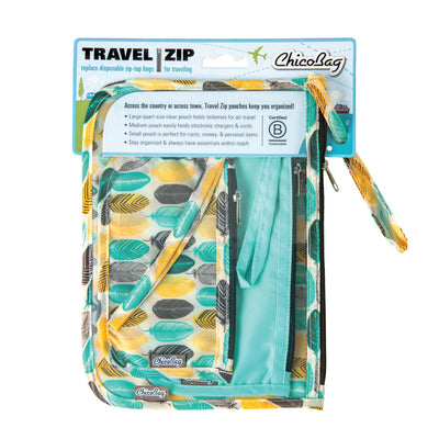 ChicoBag Cactus Feather Pattern Print set of three reusable Travel Zip Set with packaging