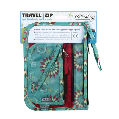 ChicoBag Cactus Solstice Pattern Print set of three reusable Travel Zip Set with packaging