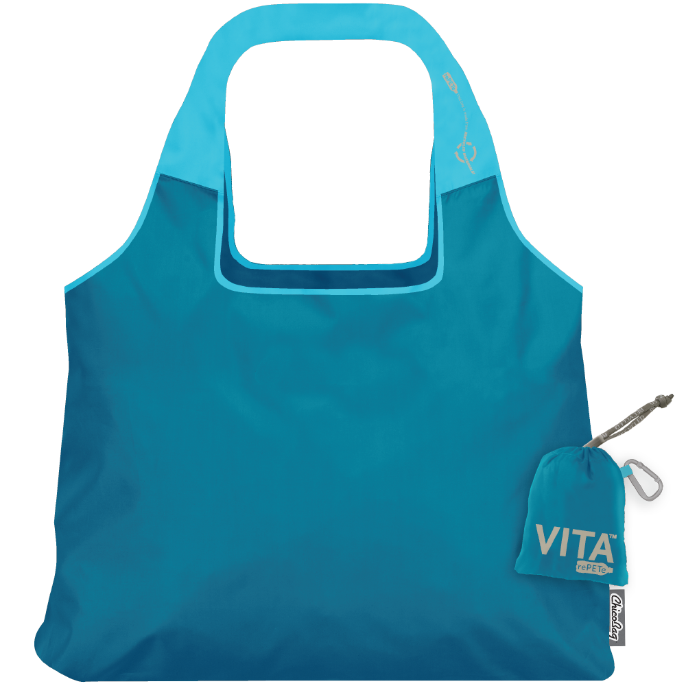 ChicoBag Vita Clarity Blue rePETe Reusable Shoulder Tote That Stuffs Into its built-in pouch and made from recycled plastic bottles On a White Background