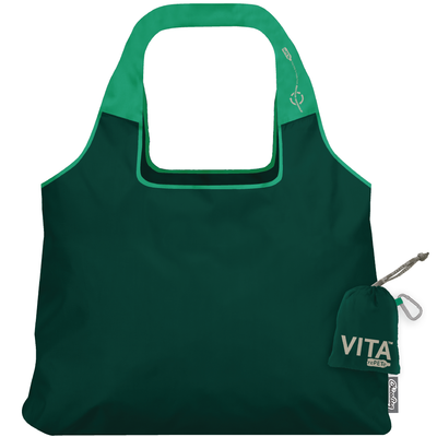 ChicoBag Vita Zen Green rePETe Reusable Shoulder Tote That Stuffs Into its built-in pouch and made from recycled plastic bottles On a White Background
