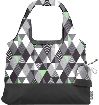 ChicoBag Vita Abstract Matrix Print Polyester Reusable Shoulder Tote That Stuffs Into its built-in pouch On a White Background