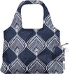 ChicoBag Vita Blue Peacock Bandana Print Polyester Reusable Shoulder Tote That Stuffs Into its built-in pouch On a White Background