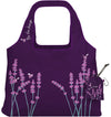 ChicoBag Vita Be The Change Lavender Print Polyester Reusable Shoulder Tote That Stuffs Into its built-in pouch On a White Background