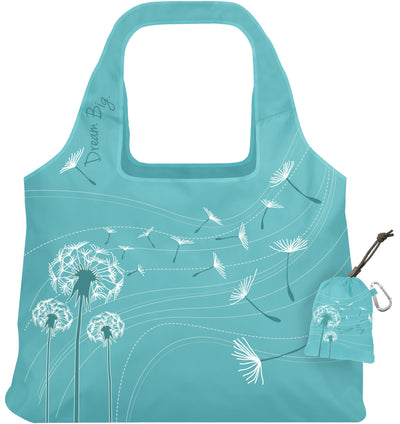 ChicoBag Vita Dream Big Dandelion Print Polyester Reusable Shoulder Tote That Stuffs Into its built-in pouch On a White Background