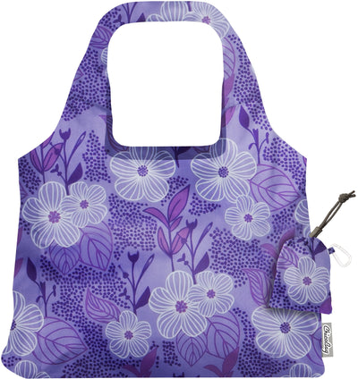 ChicoBag Vita Purple Bliss Flower Print Polyester Reusable Shoulder Tote That Stuffs Into its built-in pouch On a White Background