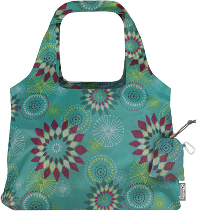 ChicoBag Vita Aqua Dandelion Polyester Reusable Shoulder Tote That Stuffs Into its built-in pouch On a White Background