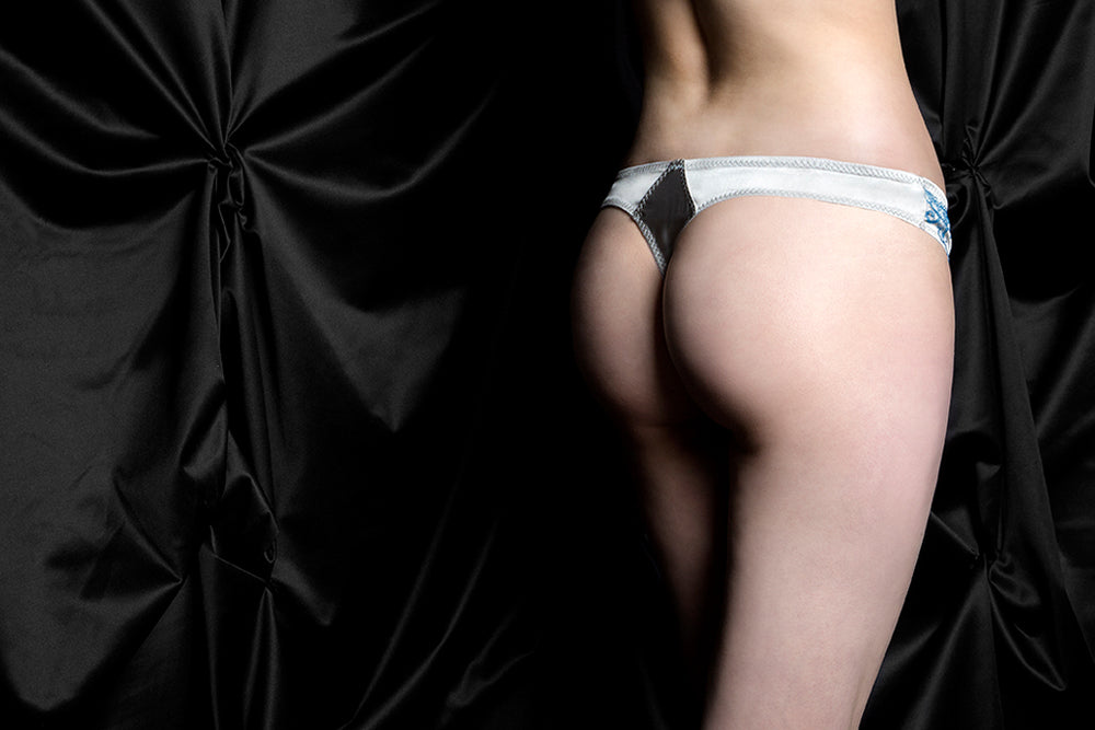 tragic kiss luxury lingerie raven blue envy thong