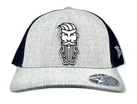 Flex Fit Curved Trucker Snap Back Hat W/Leather Patch