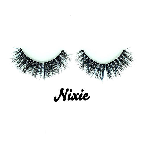 Nixie  Blue/Black Mink Fur Lashes - Shop Glam Fairy