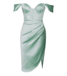 Mint sweetheart neckline ruched draping sleeve satin corset dress - EBALIDA