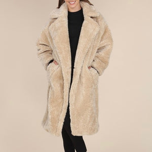 Beige long teddy coat - EBALIDA