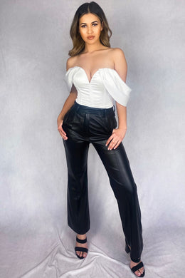 Black Faux leather wide leg trousers