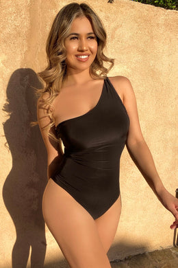 Black One Shoulder Strap Bodysuit - EBALIDA